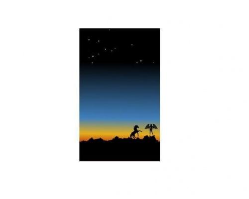 Grafika zrobiona w programie Inkscape #anioł #koń #gwizdy #ZachódSłońca #inkscape #GrafikaWektorowa