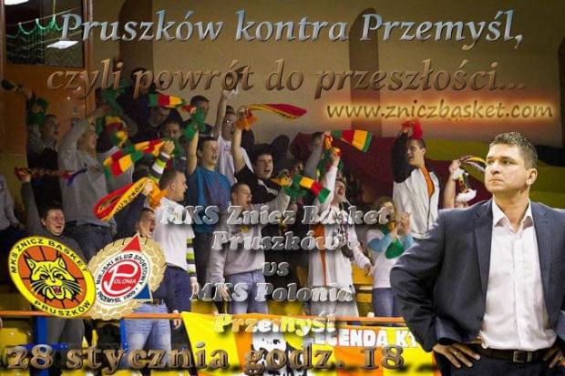 Plakat zapowiadający spotkanie I ligi koszykówki mężczyzn pomiędzy drużynami MKS Znicz Basket Pruszków i MKS Budimpex Polonia Przemyśl #ZniczBasket #Pruszków #koszykówka #ILiga #PZKosz #kosz #basket #Polonia #MKS #Przemyśl