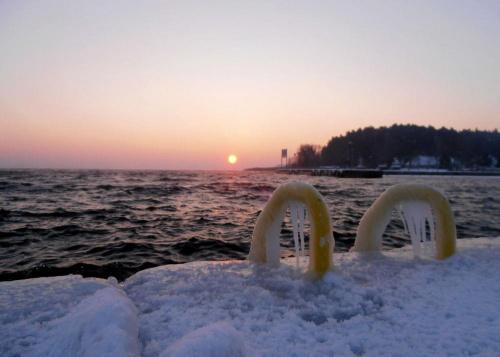 Zimowo w porcie o wschodzie słońca. #zima #śnieg #mróz #szron #lód